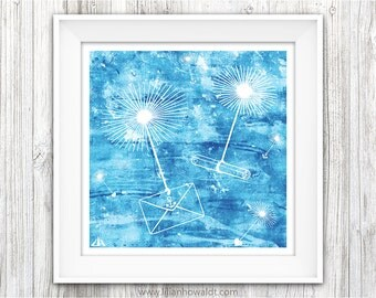 Wishes | Square Art Print | Illustration | Dreamy Modern Wall Art | Children's Room Wall Decor | Dandelion