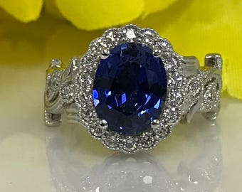 Beautiful Oval Ceylon Blue Sapphire and Genuine Diamond Halo and Vine-design Engagement/Fashion Ring  set in 14k White Gold #4972