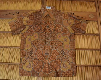 Ethnic Men  Cotton Batik Shirt Indonesian Brick Orange Size XL
