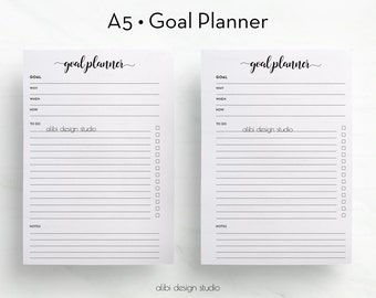 Goal Planner, A5 Planner Inserts, Goal Tracker, Printable Planner, A5 Insert, Project Planner, Goal Setting, Productivity Planner