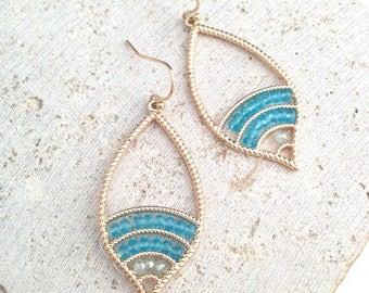Bead Earring,Turquoise Bead Earring,Boho Earring,Gold Boho Earring,Turquoise Boho Earring,Tribal Earring,Tribal Dangle Earring