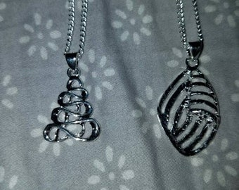 Set of 2 Sterling silver 925 stamped pendants with chains! Leaf and tree! 1 inch in length. 16 in chain!