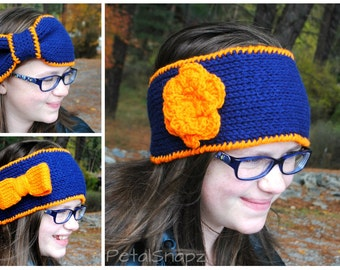 3 in 1 Custom Headband - Crochet Headband - Knit Headband - Knit Earwarmer - Two Colors