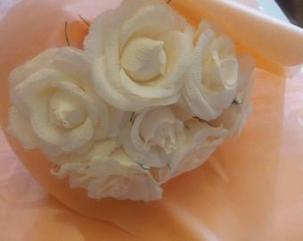 Crepe Paper Rose Flower Bouquet,anniversary, birthday,wedding,home gift. Cream.
