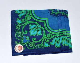 MOD Fallani & Cohn Belgian Linen Napkins, Blues, Greens, Floral, Set of 4, Mother Day Gift