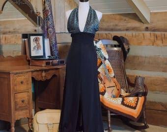 Vintage dress - 1970's backless halter neck disco dress