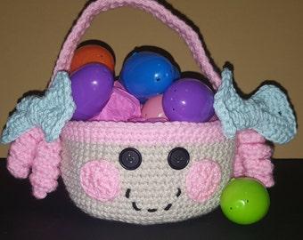 Crochet Easter Basket, Lalaloopsy Easter Halloween Basket, Girl basket, bag, crochet