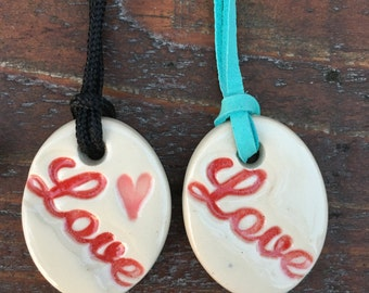 Ceramic Love Necklace, Love Necklace, Love, Heart