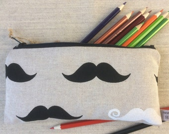 Funky Handmade Purse, Make-up or Pencil Case, in Hipster Moustaches Fabric