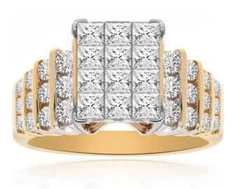1.00 Carat Princess/Round Cut Diamond Square Cluster Ring 14K Two Tone Gold