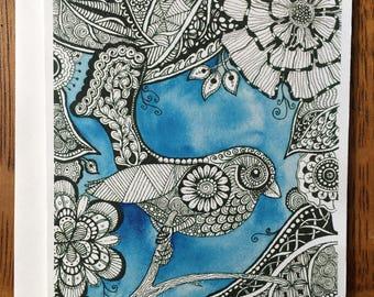 Zentangle Birdie Card