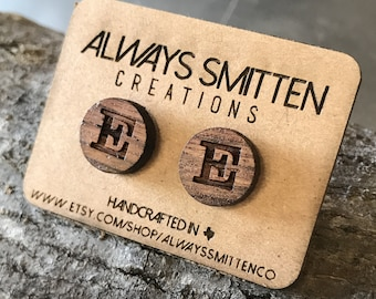 Wood Stud Earrings - Letters, Alphabet, Initial, Personalized