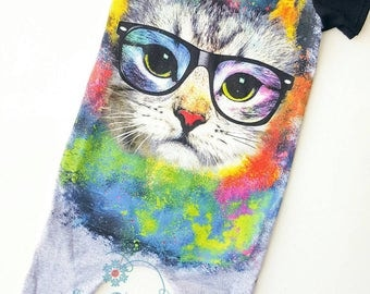 Cat Romper, Upcycled Romper, Toddler Romper, Hipster Romper, Boy Romper, Cat Clothes, Galaxy Cat, Short Sleeve Romper, Spring Clothes, Cats
