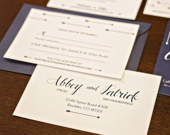 Navy and White Arrow Wedding Invitation Suite with Wedding Invitation, RSVP Postcard and Details Cards
