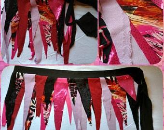 Pink tattered wrap skirt. Pirate, Festival, Beach, Pixie, Fairy, boho skirt