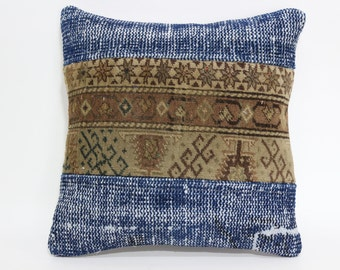 Turkish Pillow 16X16 Decorative Pillow Sofa Pillow Anatolian Pillow Blue Pillow Handmade Pillow Vintage Pillow SP4040-1827