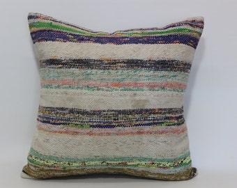 Striped Kilim Pillow Turkish Kilim Pillow 24x24 Decorative Kilim Pillow Anatolian Kilim Pillow Sofa Pillow Handmade Kilim Pillow SP6060-1008