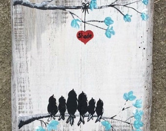 Love Bird Family painted on pallet boards. Customizable