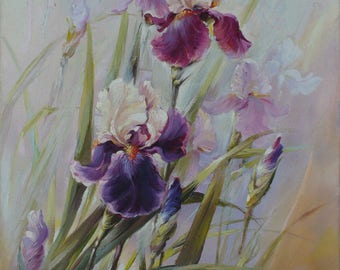 "The Painting ""Iris"". painting with flowers"