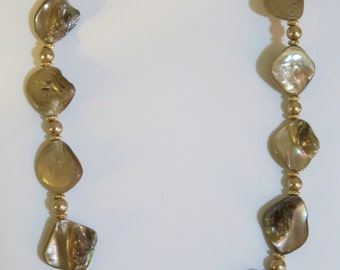 Golden Lacquered Natural Drilled Shell Necklace and Earrings - OOAK