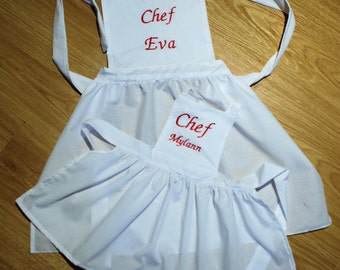 Personalized chef apron made to order 1-3 years, 3-6 years, 6-8 years, 8-10 years