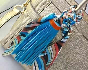 Large Blue Tassel & Scarf Purse/ Handbag Charm, New
