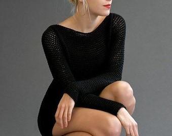 -Knit dress - cotton knitted tunic dress