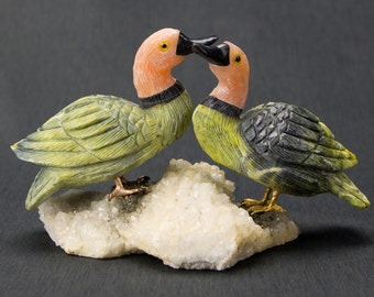 Gemstone Bird Sculpture - Serpentine Ducks 16100009