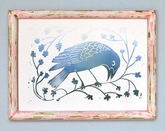 Raven. Bird. Original. Plants. IMAGE / PRINT. Linocut