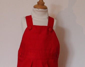 Red Canvas T 12-18 month overalls