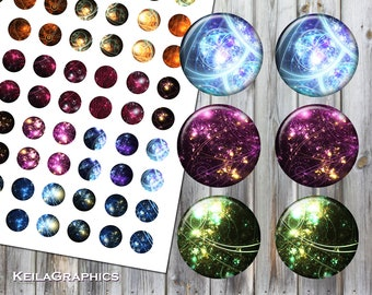 Digital Collage Sheet - Instant Download - Circle Size 16mm + 14mm + 12mm + 10mm Printable Images - Fractal Steampunk Galaxy