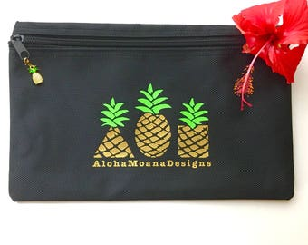 Pineapple Splash Proof Zipper Pouch ~ Triple Pineapple Pouch ~ Hawaii Pouch ~ Water Resistant Bag~ Hawaii Beach Pouch