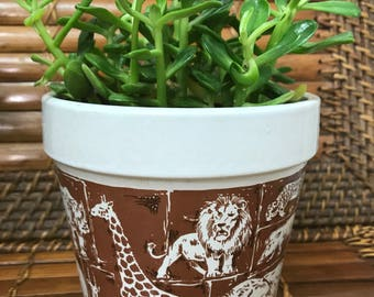 Vintage ceramic Wildlife Planter Zebra, Lion, Elephant, Giraffe