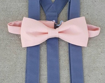 Charcoal and Peach Suspender and Bow Tie Set Perfect for Weddings, Proms, Special Events Free Shipping Offer