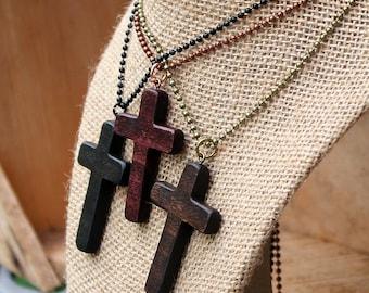 Wood Cross Necklace, Wooden Cross, Wood Cross Pendant, Mens Cross Necklace, Womens Cross, Brown Cross, Black cross, Rustic cross, Christian