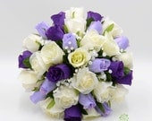Artificial Wedding Flowers Purple Lilac  Ivory Rose Brides Bouquet Posy