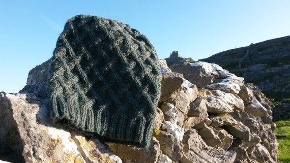 Aran Slouchy Beanie Hat: handknit in 100% wool. Original design. Made in Ireland. Unisex. Green wool hat. Great gift for boyfriend or teen.