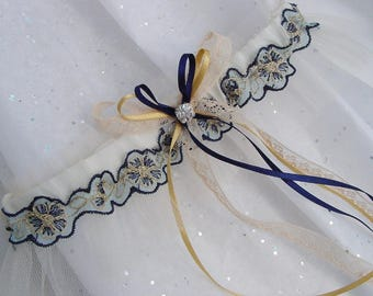 Embroidered lace tulle wedding garter, beautifully hand made in England Ivory Dark Navy Blue AMAZING VALUE!