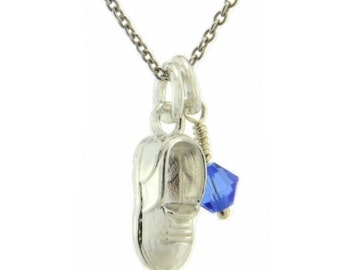 Baby Slipper Boot Necklace 925 Sterling Silver Pendant Chain Swarovski Birthstone Crystal Charm