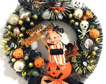 Halloween Bottle Brush Wreath made with Vintage Items