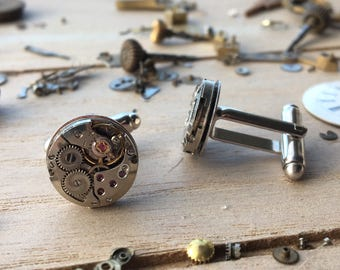 Watch movement cuff links -metal small round - nickel free - steampunk jewelry - made by: Handmade by Charlie