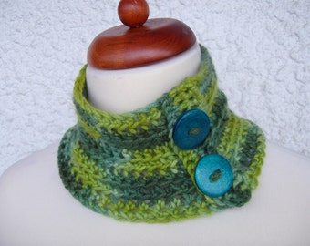 Neckwarmer, cashmere and silk, hand painted neckwarmer, cashmere neckwarmer, green neckwarmer, crochet neckwarmer, crochet cowl, cowl