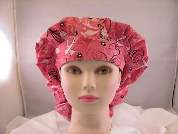 Women's Bouffant Scrub Hat Breast Cancer Awareness