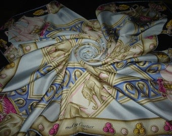 Cartier authentic silk scarf / PROMOTION! Free shipping. CARTIER must
