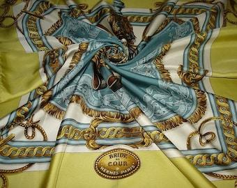 Hermes Silk Scarf BRIDE Court Vintage Rare HERMES