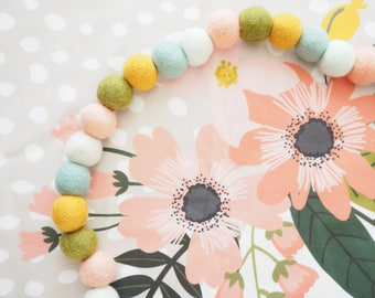 Floral feltball Garland - Pompom Garland - Nursery Decor - Baby Shower Decor - Wall Decor