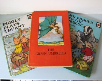 Ladybird book, Vintage ladybird books, Vintage children's story book, Piggly plays truant, The green umbrella, Mr badger to the rescue.