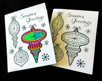 Season's Greetings Card with Ornaments - PDF Zentangle Coloring Page