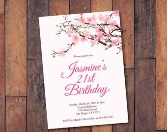 21st Birthday Invitation/Printable Cherry Blossoms Birthday Invitation/ecard invitation/Template/Birthday Invitation/Surprise Birthday Party