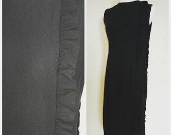 Amazing Vintage Black Wiggle Dress with side Ruffle